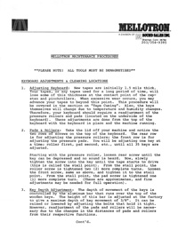 Mellotron Maintenance Procedures - Sound Sales Inc.